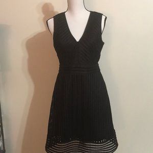 J Crew dress sz 6 black ribbed lace a line new